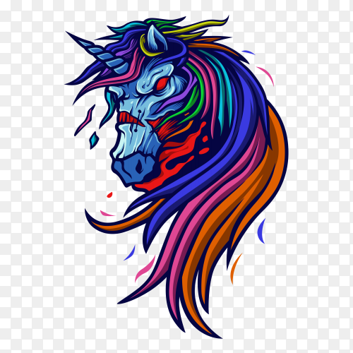 Zombie unicorn illustration on transparent background PNG