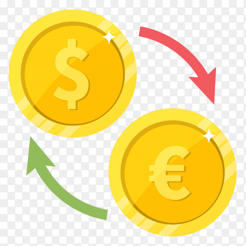 Flat design Currency exchange dollar euro premium vector PNG