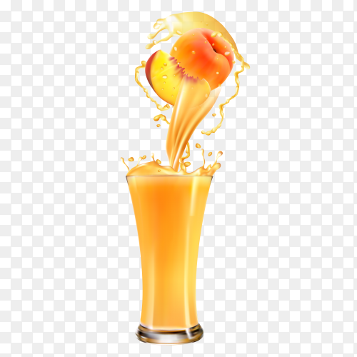 fresh Peach juice on transparent background PNG