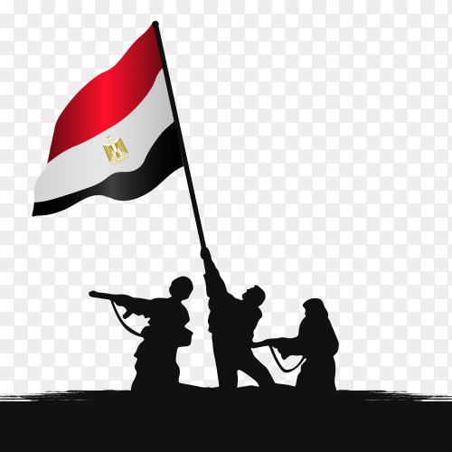 illustration of egyptian army with flag on transparent background PNG