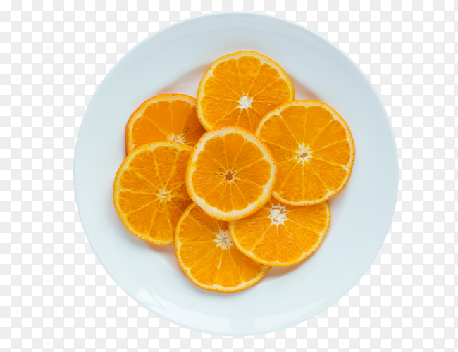 Orange slices with plate top view on transparent background PNG
