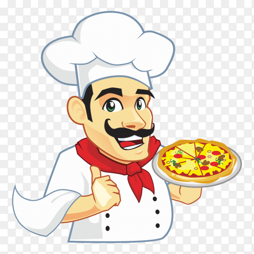 Pizzaria cartoon chef on transparent background PNG