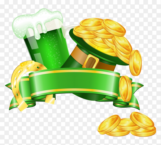 Saint patrick day banner on transparent background PNG