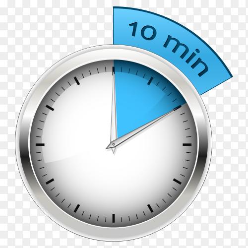10 Minutes. Timer  illustration on transparent PNG