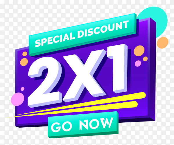 2×1 promotion banner on transparent background PNG