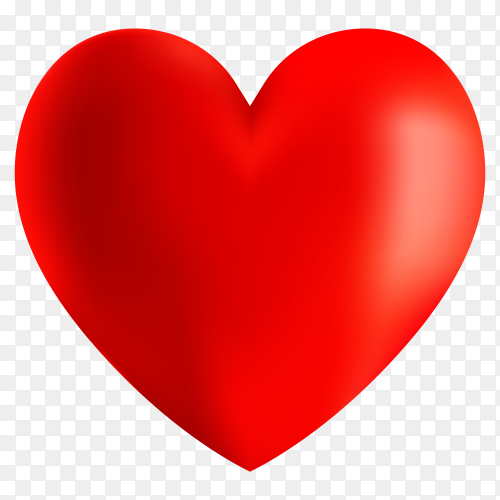 3D Red heart shapes on transparent background PNG