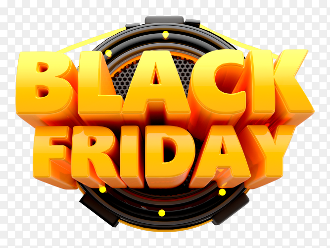 3D Black friday logo with lights base on transparent background PNG