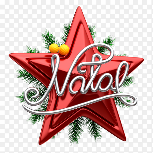 3D Christmas star logo for composition, tree and christmas ball on transparent background PNG