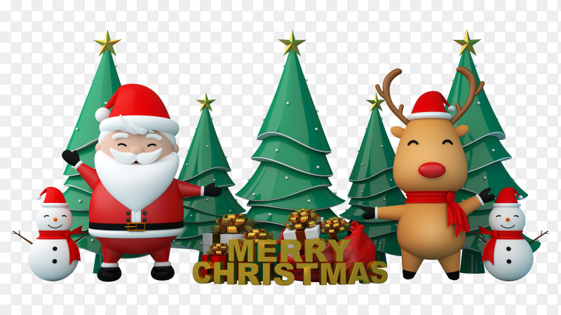 3D Christmas tree with santa claus and snowman on transparent background PNG