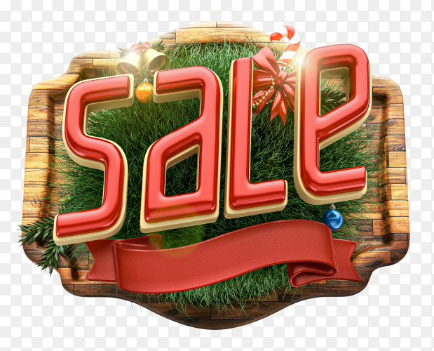 3D Christmas sale logo composition with decoration on transparent PNG