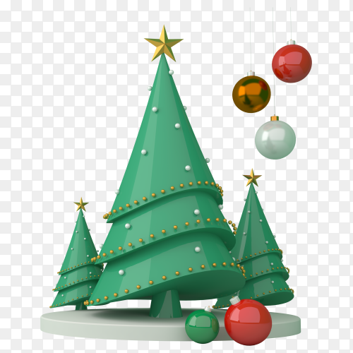3D Christmas tree design premium vector PNG