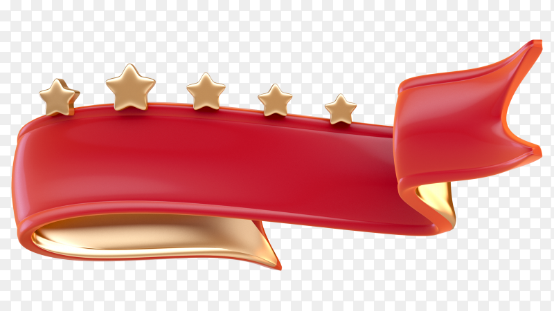 3D red ribbon with golden stars on transparent PNG