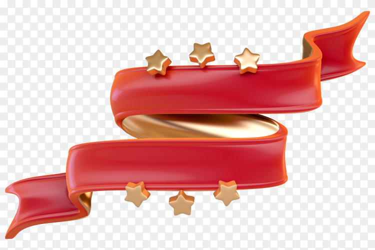 3D red ribbon with golden stars on transparent background PNG