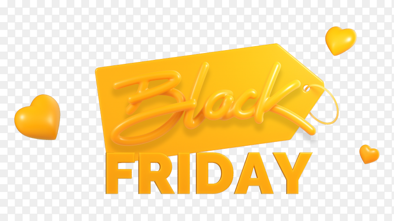 3D rendering black Friday sale banner premium vector PNG