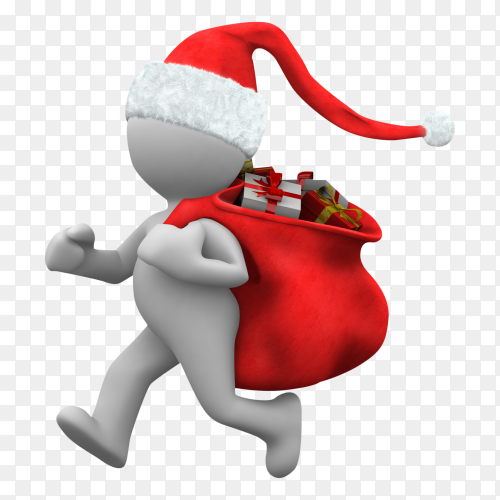 3d Man Christmas with Gift Boxes Illustration on transparent background PNG