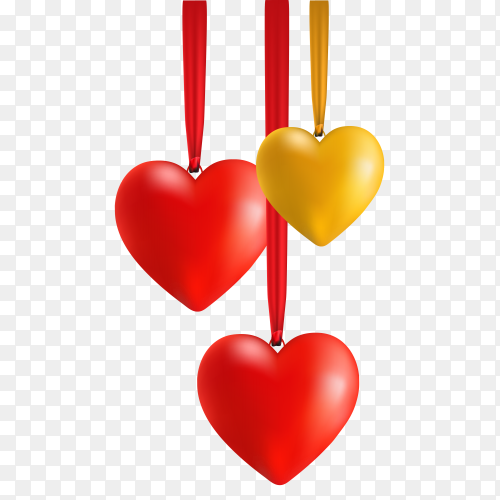 3d golden and red hearts with ribbons on transparent background PNG