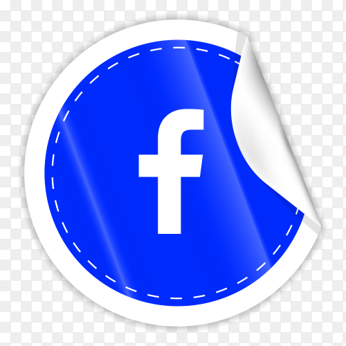 3d round paper sticker shiny with Facebook icon button with gradient effect on transparent background PNG