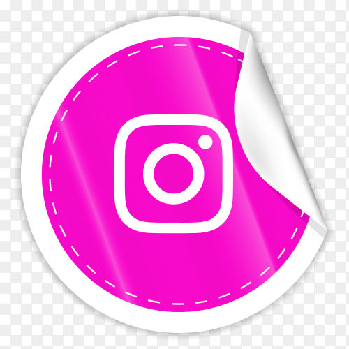 3d round paper sticker shiny with Instagram icon button with gradient effect on transparent background PNG