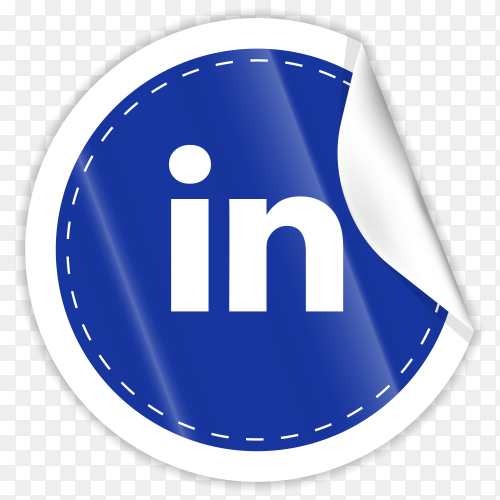 3d round paper sticker shiny with Linkedin icon button with gradient effect on transparent background PNG