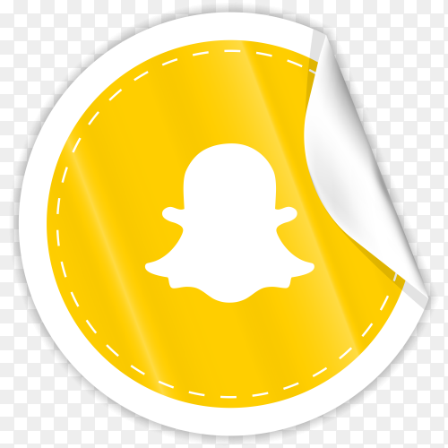 3d round paper sticker shiny with Snapchat icon button with gradient effect on transparent PNG