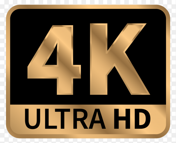 4k ultra hd sign with reflection on transparent background PNG