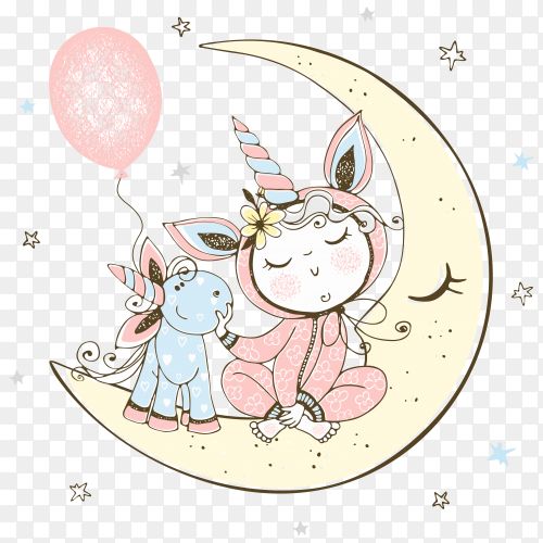 A baby in unicorn pajamas is sitting on the moon with his unicorn toy on transparent background PNG