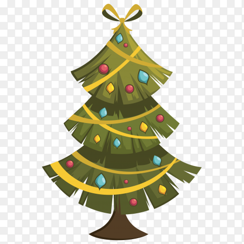 A beautiful Christmas tree on transparent background PNG