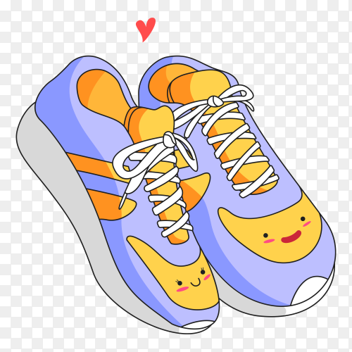 A couple of cute shoes love cartoon illustration on transparent background PNG