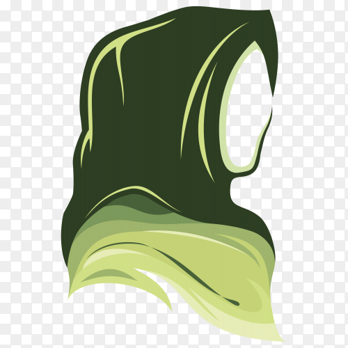 A girl face wearing green hijab on transparent background PNG