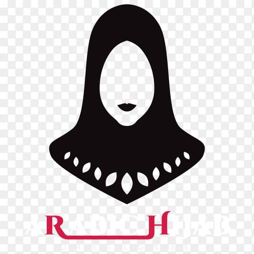 Abstract Arabic hijab logo premium vector PNG