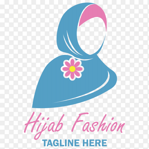 Abstract hijab fashion logo on transparent background PNG
