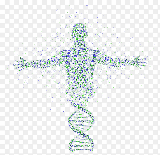 Abstract model of man of DNA molecule premium vector PNG