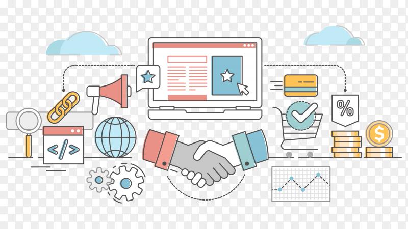 Affiliate marketing outline concept illustration on transparent background PNG