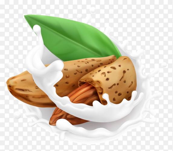 Almond and milk splash. 3d realistic icon premium vector PNG