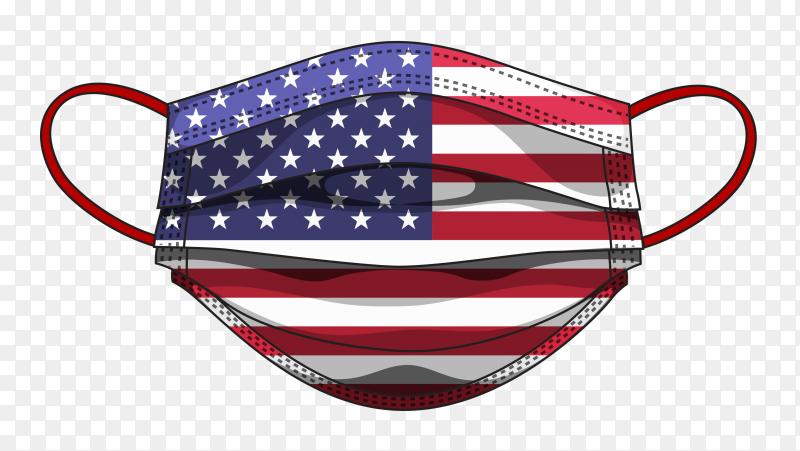 American flag in medical mask on transparent background PNG