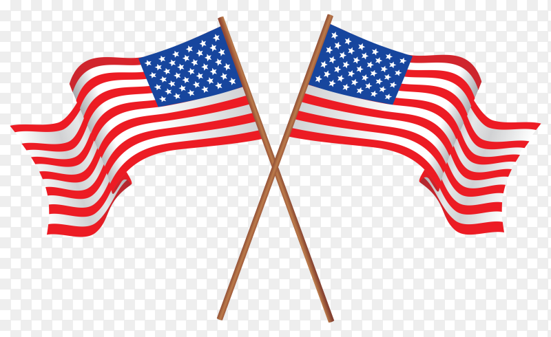 American flag isolated on transparent background PNG