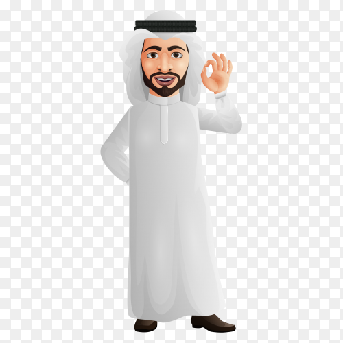 Arab businessman showing okay sign on transparent background PNG