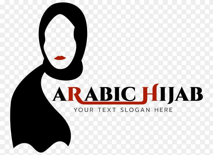 Arabic Hijab logo illustration premium vector PNG