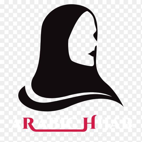 Arabic hijab logo design on transparent background PNG