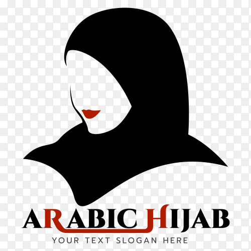 Arabic hijab logo template on transparent background PNG