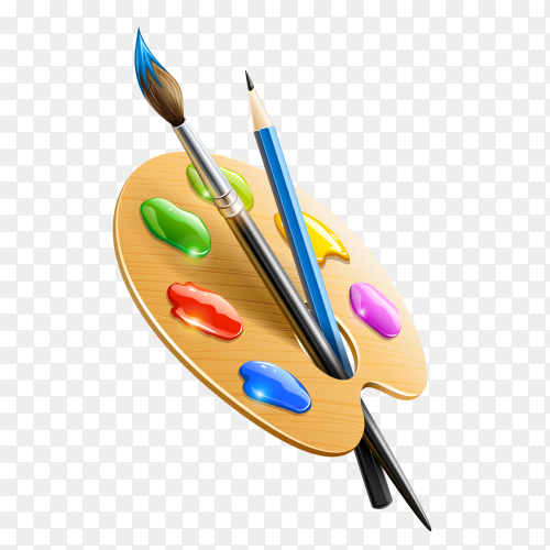 Art color palette with paintbrush drawing tools isolated on transparent background PNG