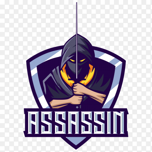 Assassin mascot with sword esport logo design on transparent background PNG