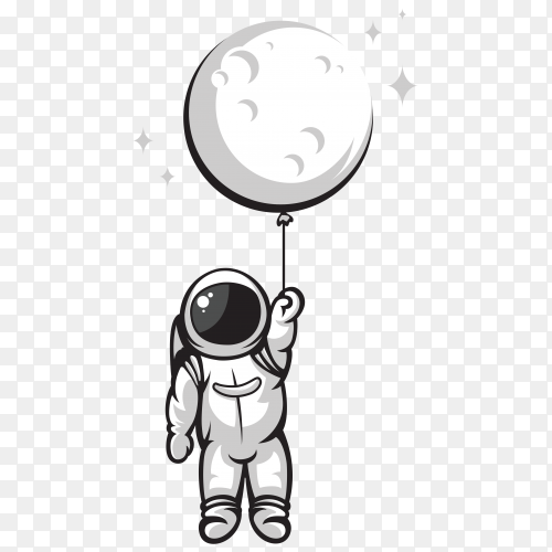 Astronaut holding moon balloon illustration on transparent background PNG