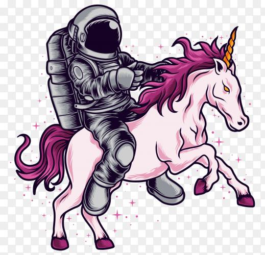 Astronaut ride unicorn on transparent background PNG