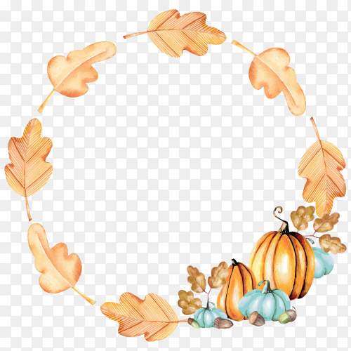 Autumn wreath with watercolor pumpkins and oak leaves on transparent background PNG