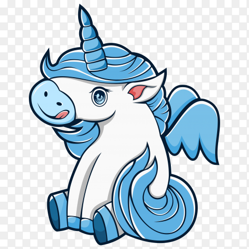 Baby unicorn cartoon illustration premium vector PNG