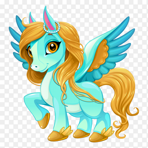 Baby unicorn with cute eyes on transparent background PNG