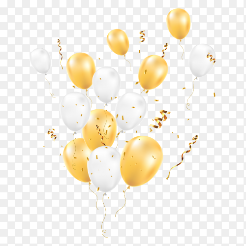 Balloons with confetti isolated on transparent background PNG