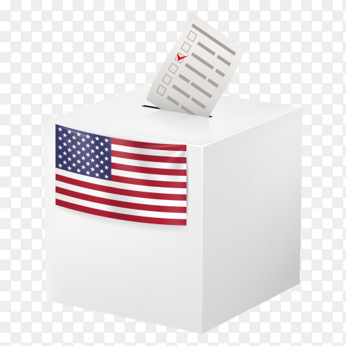 Ballot box with voicing paper. usa on transparent background PNG