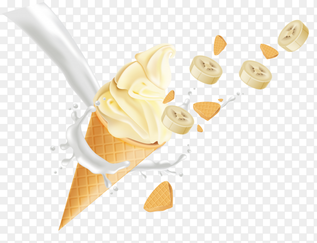 Banana ice cream cone on transparent background PNG